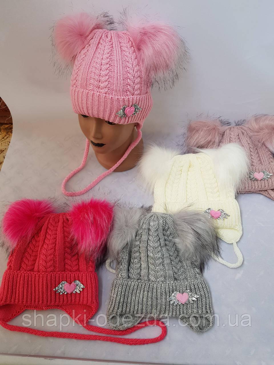 Шапка зимняя для девочки на флисе  р 44-48 оптом ( Д 548 )