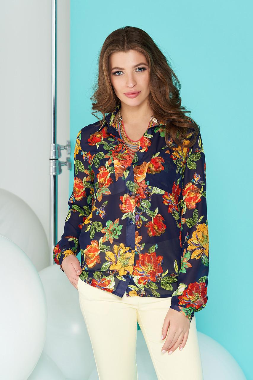 Нарядная шифоновая женская рубашка с цветочным принтом