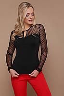 Красивая и нарядная черная блузка в горошек