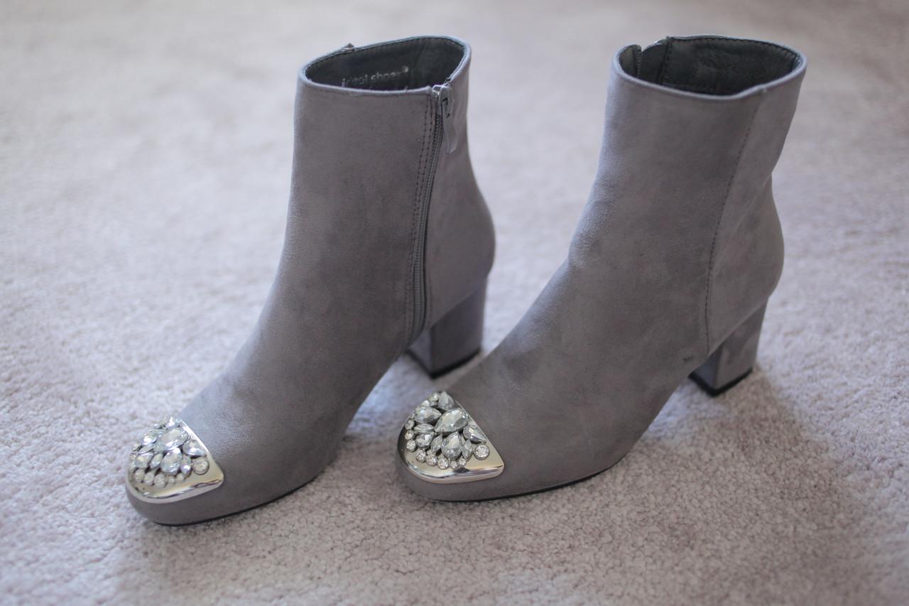 Жіночі черевики Італія сірі стрази класика каблук 5см замша 36 - 41