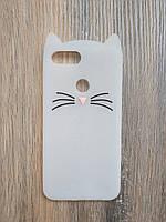 Объемный 3d силиконовый чехол для Xiaomi Mi 8 Lite Усатый кот белый