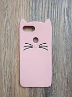 Объемный 3d силиконовый чехол для Xiaomi Mi 8 Lite Усатый кот розовый