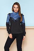 Стильная женская кофточка-свитшот под горло голубая