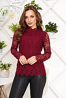 Гипюровая блузка нарядная бордовая