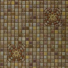 Панели декоративные ПВХ, мозаика медальон коричневый, НАЛ 95.6 Х 48см