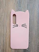 Объемный 3d силиконовый чехол для Xiaomi Mi 9 SE Усатый кот розовый