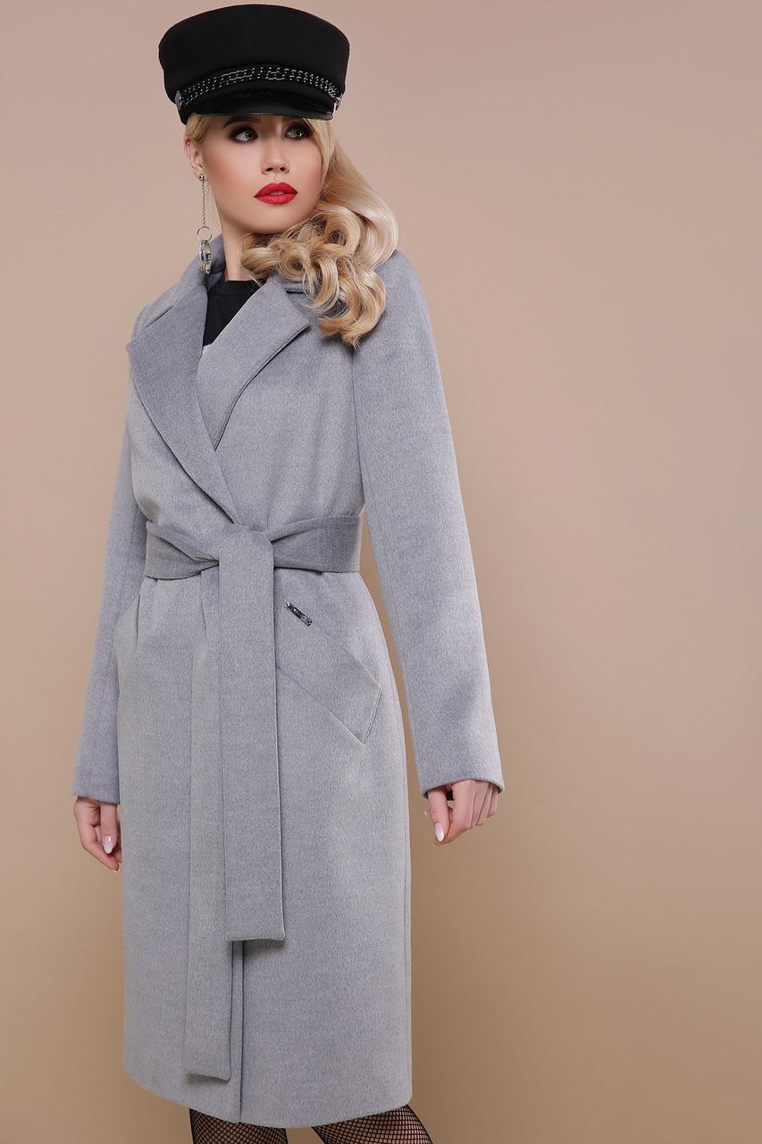 Классическое шерстяное пальто весна осень серое