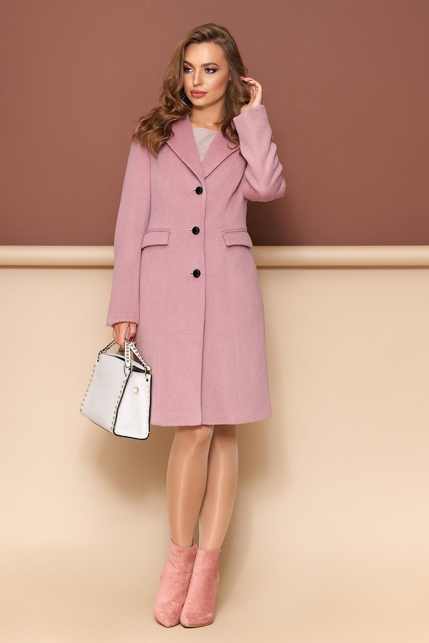Классическое демисезонное шерстяное пальто розовое