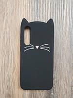 Объемный 3d силиконовый чехол для Xiaomi Mi 9 SE Усатый кот черный