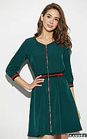 Красивое зеленое платье на молнии с высокой талией