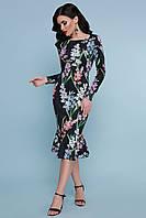 Платье футляр черное с цветочным принтом