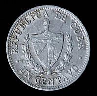 Монета Кубы 1 сентаво 1966 г.