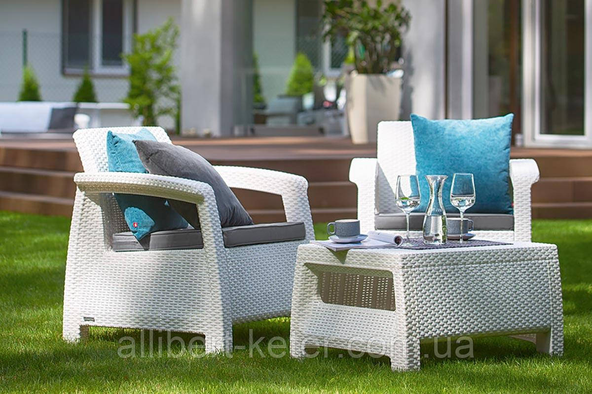 Набір садових меблів Corfu Weekend Set White ( білий ) з штучного ротанга ( Allibert by Keter )
