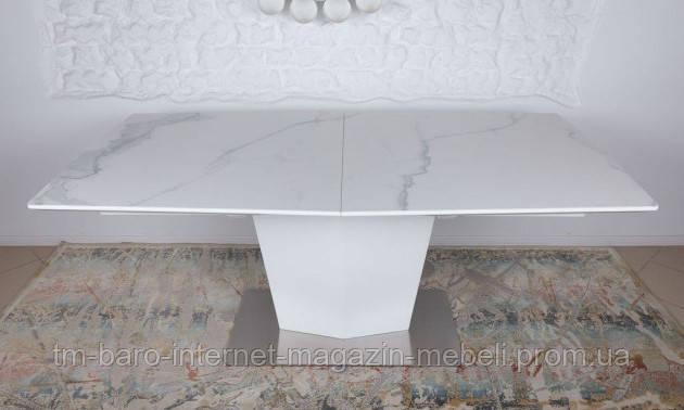 Стол обеденный MICHIGAN (180/230*95*76cmH) керамика белый глянец, Nicolas
