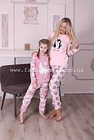 Пижама женская теплая с карманами пудра. В наборе идет с повязочкой для сна, Турция