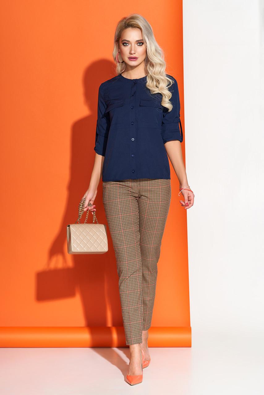 Красивая блузка синяя на каждый день