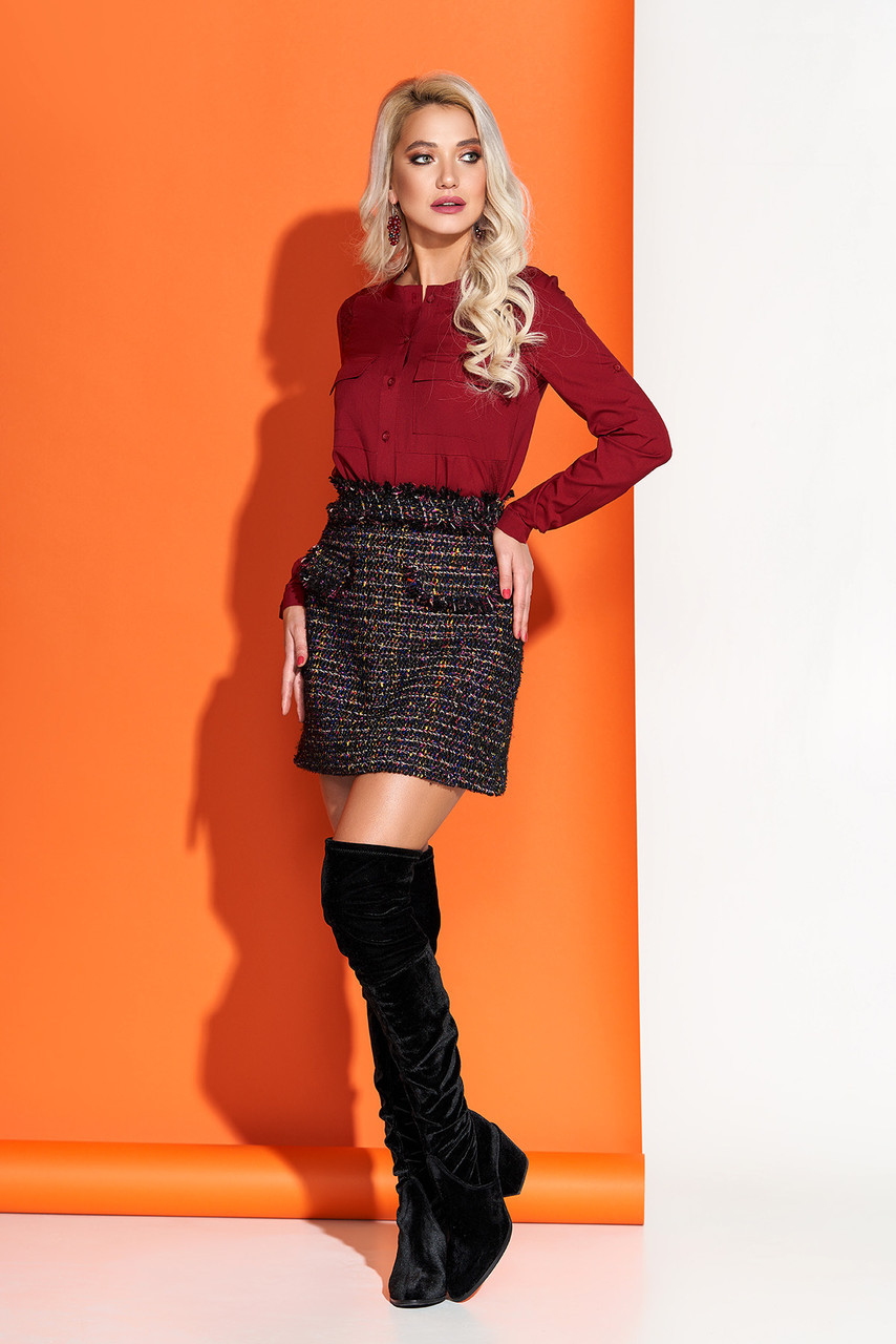 Модная блузка бордовая повседневная