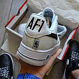 Мужские кроссовки Nike Air Force 1 'NBA Pack' White белые кожаные 36-44р. Живое фото (Реплика ААА+), фото 4