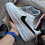 Мужские кроссовки Nike Air Force 1 'NBA Pack' White белые кожаные 36-44р. Живое фото (Реплика ААА+), фото 3