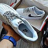 Мужские кроссовки Nike Air Force 1 'NBA Pack' White белые кожаные 36-44р. Живое фото (Реплика ААА+), фото 6