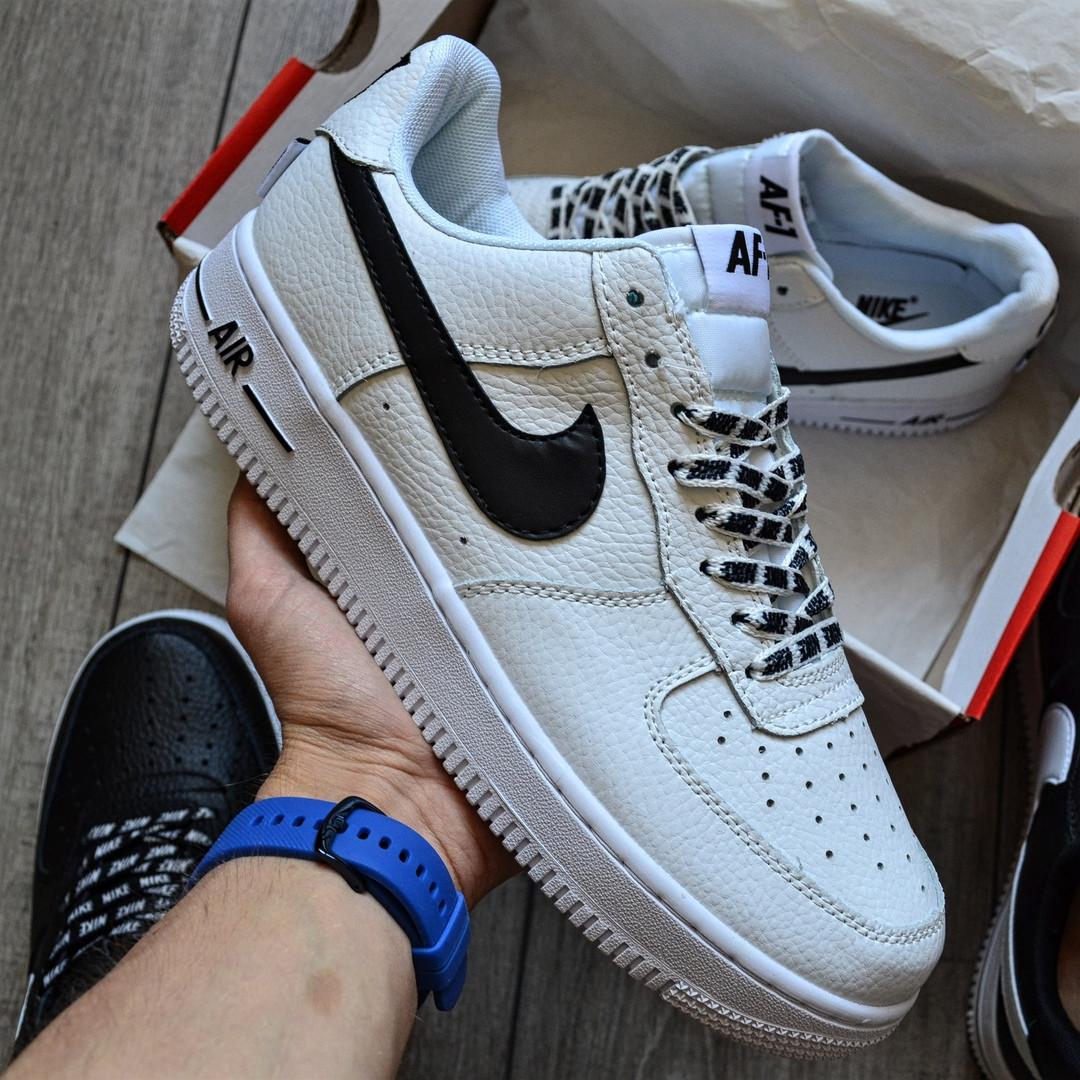 Мужские кроссовки Nike Air Force 1 'NBA Pack' White белые кожаные 36-44р. Живое фото (Реплика ААА+)