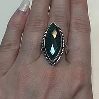 Изумруд кольцо маркиз с камнем изумруд в серебре. Размер19,7. Кольцо с изумрудом Индия, фото 1