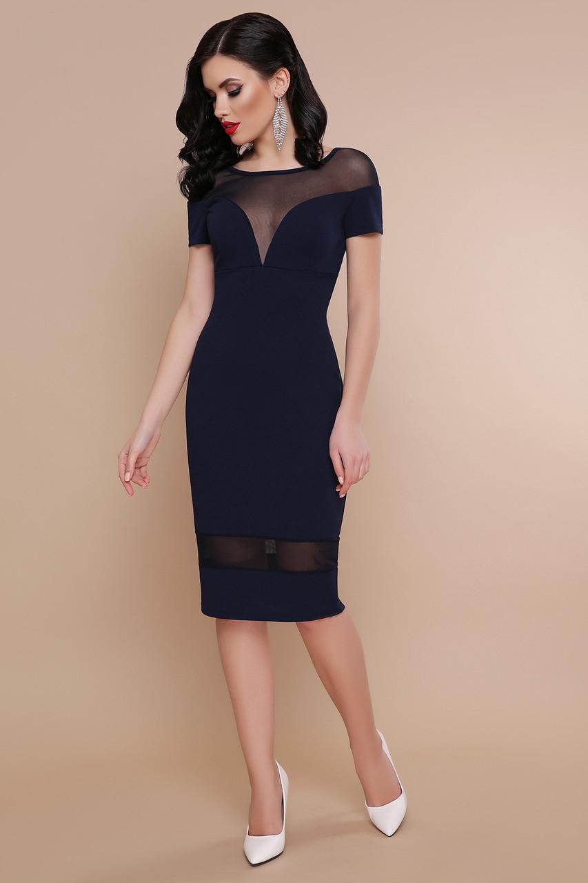Коктейльное платье миди красивое с сеткой