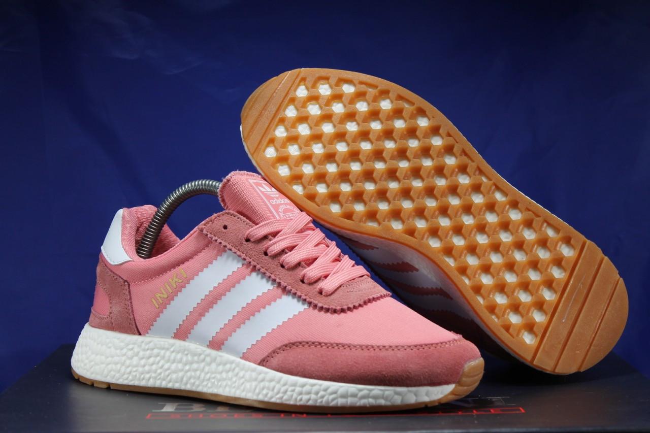 Женские розовые беговые кроссовки, для зала в стиле Adidas iniki runner