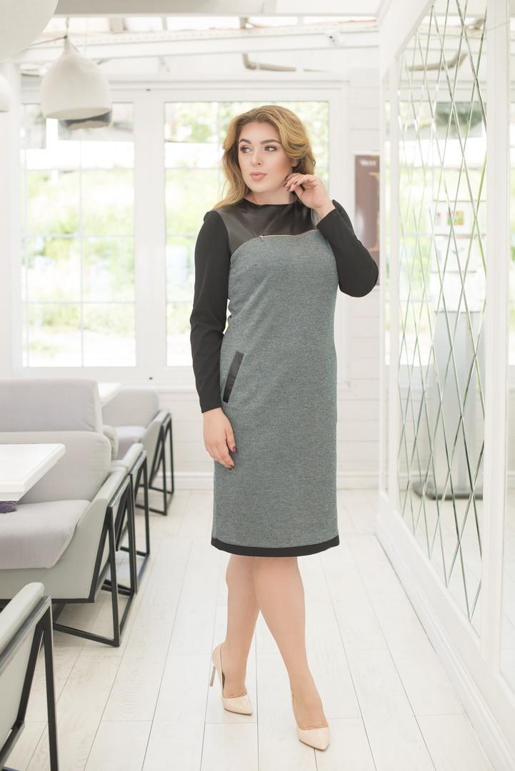 """Комбинированное деловое платье-футляр """"Либерти"""" с длинным рукавом (большие размеры)"""