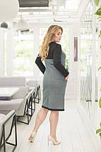 """Комбинированное деловое платье-футляр """"Либерти"""" с длинным рукавом (большие размеры), фото 2"""