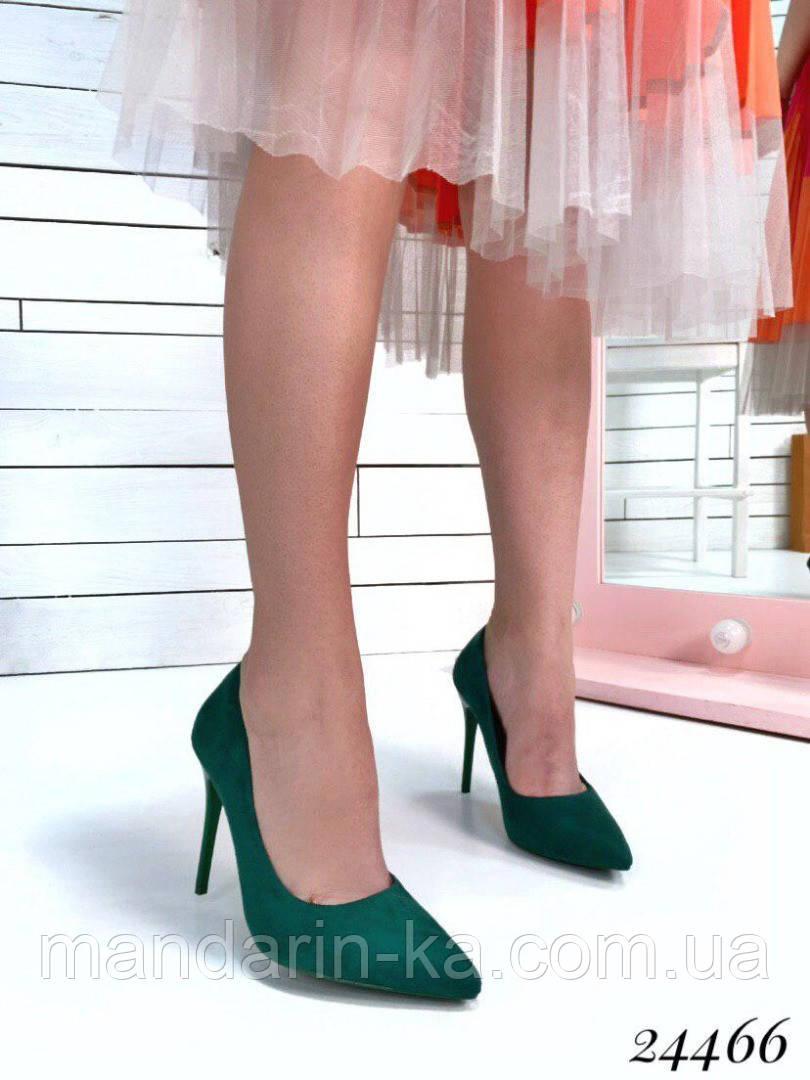 Туфли женские лодочки зеленые  шпилька 10,5 см