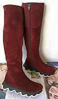 Mante crazy! Женские демисезонные ботфорты на змейке,осень на необычной подошве 100% натуральная кожа, фото 1