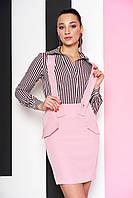 Модная юбка короткая с подтяжками розовая