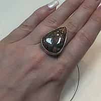 Унакит красивое кольцо капля с унакитом яшма в серебре. Размер кольца 17,5. Индия, фото 1