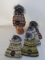 Дитяча в'язана шапка на флісі зима р 50-56 оптом