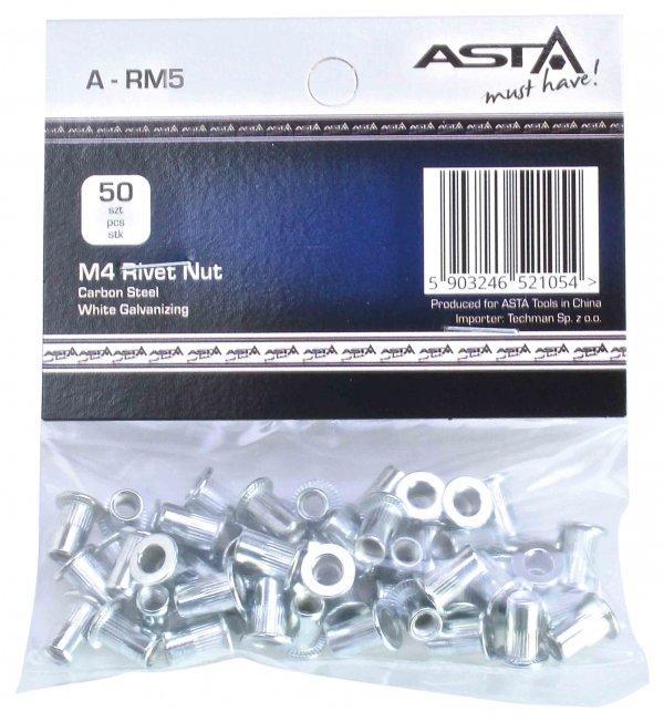 Заклепки резьбовые М5, 50 шт. ASTA A-RM5