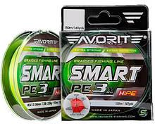 Шнур Favorite Smart PE 3x 150м (fl.yellow) #0.4/0.104mm 7.5lb/3.5kg