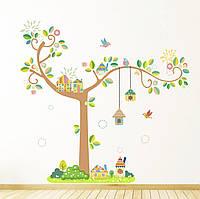 """Детская интерьерная виниловая наклейка """"Дерево с домиками"""""""