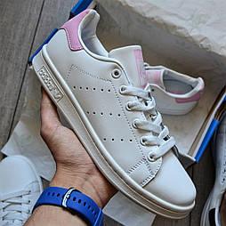 "Женские кроссовки Adidas Stan Smith Womens ""White Pink"" leather 36-40р. Живое фото. (Реплика ААА+)"