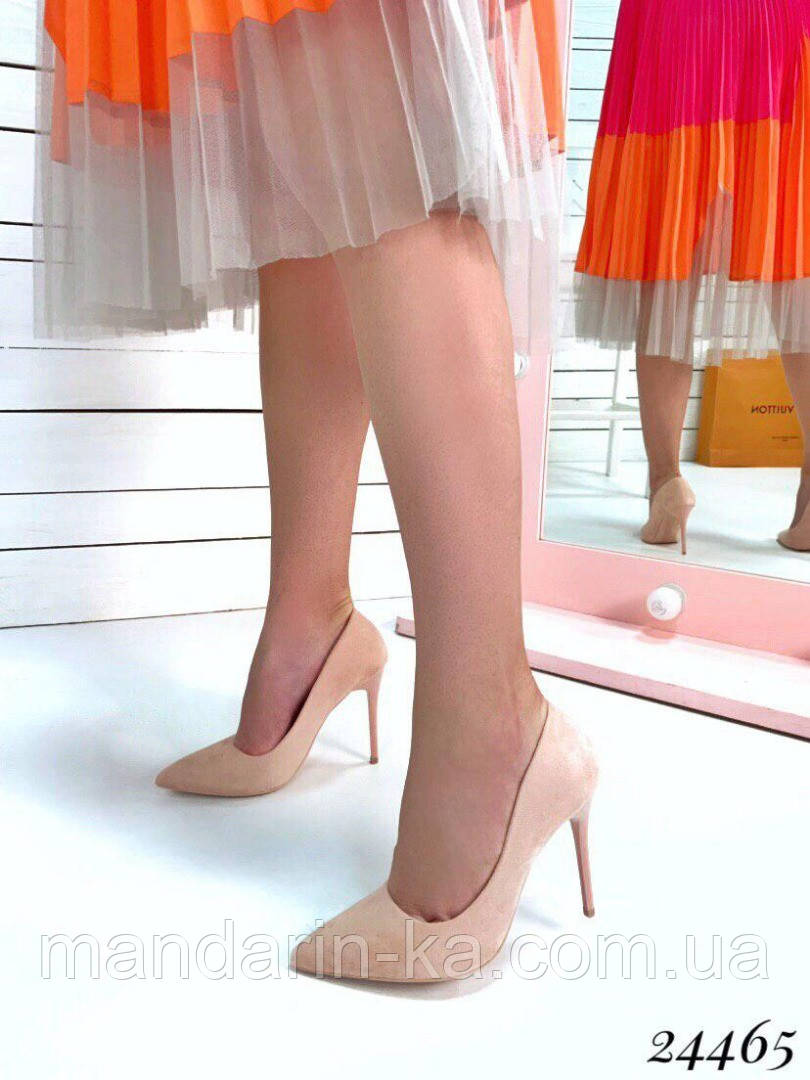 Туфли  женские лодочки пудра  шпилька  10,5 см