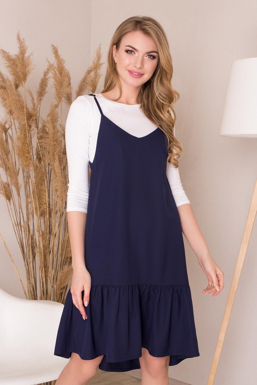 Платье двойка синее повседневное