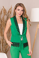 Жилет женский с кружевом зеленый