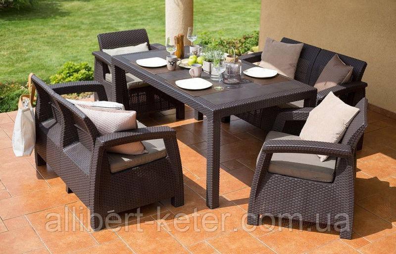 Набор садовой мебели Corfu Fiesta Set Brown ( коричневый ) из искусственного ротанга ( Allibert by Keter )