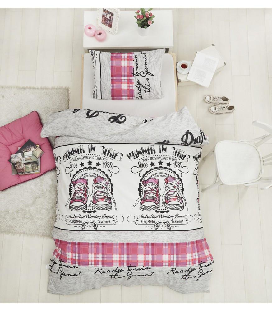 Полуторное постельное белье Altinbasak Molly Pink Ранфорс