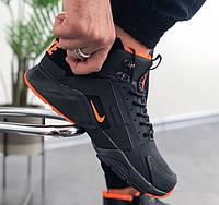 Зимние кроссовки Nike Huarache Winter black/orange термо. Живое фото (Реплика ААА+)