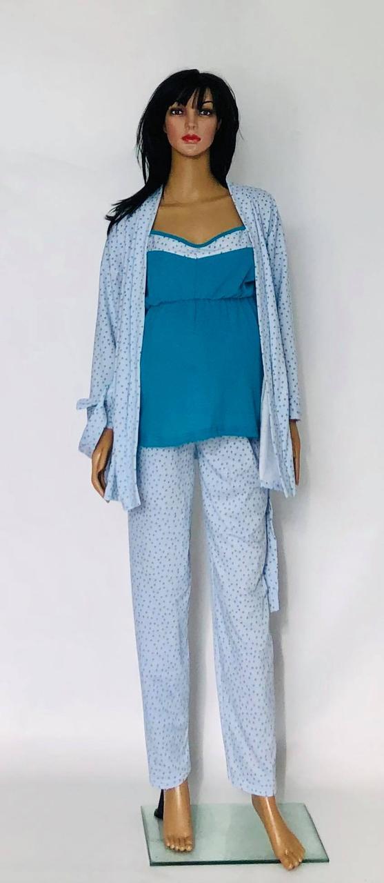Теплый комплект тройка с брюками для кормящих и беременных женщин халат и пижама