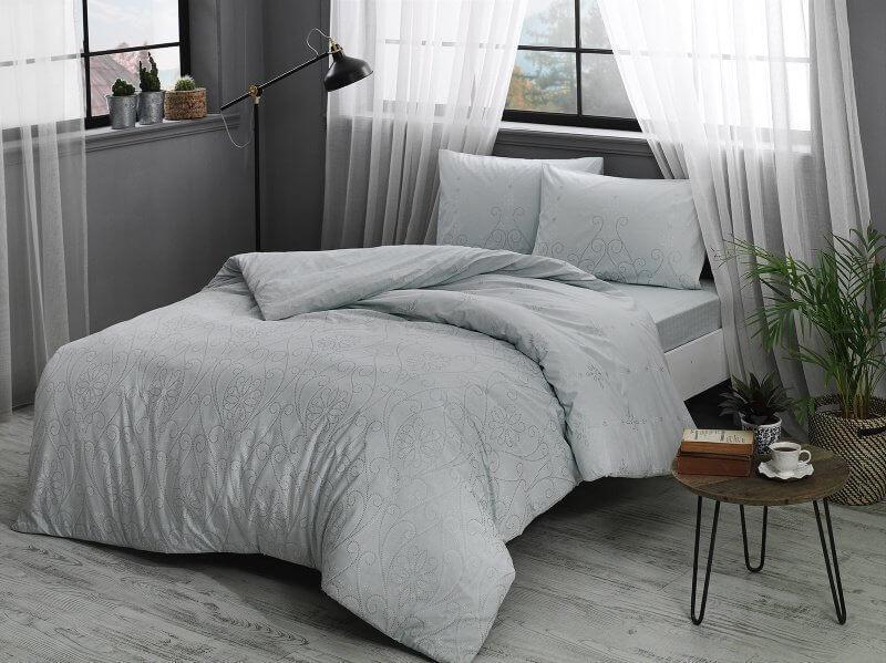 Полуторное постельное белье TAC Valonia mint Ранфорс