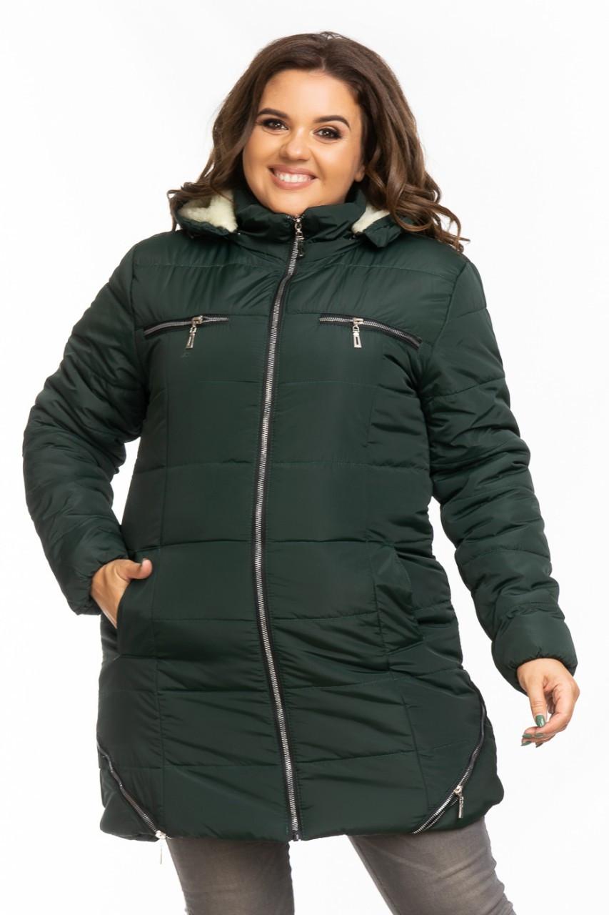 Куртка женская зимняя Большого размера Батал на овчинке  K960HG
