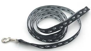 Поводок для собак и котов капроновый Лапки 2,0 черно-серый