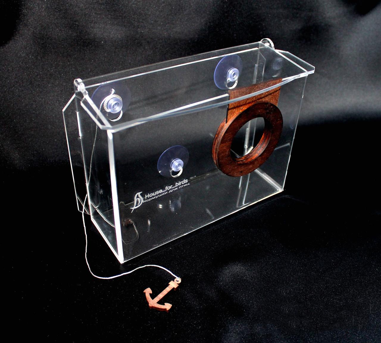 Кормушка для птиц присосками на окно акриловая Фотоаппарат с упаковкой
